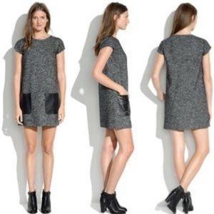 MADEWELL Leather Trim Shift Dress Pockets Sz S